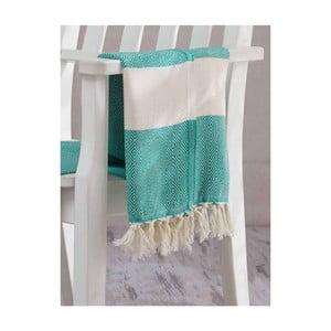 Zielono-biały ręcznik Hammam Elmas, 100x180cm