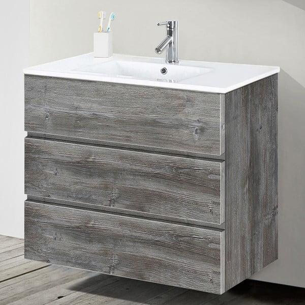 Szafka do łazienki z umywalką i lustrem Nayade, motyw vintage, 80 cm