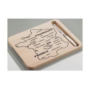 Drewniana deska z nożem do serów Jean Dubost Map of France