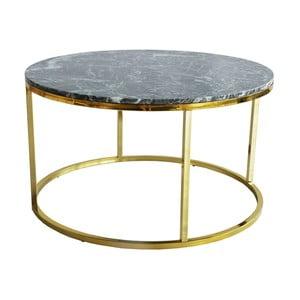 Zielony stolik marmurowy z konstrukcją w kolorze złota RGE Accent, ⌀85cm