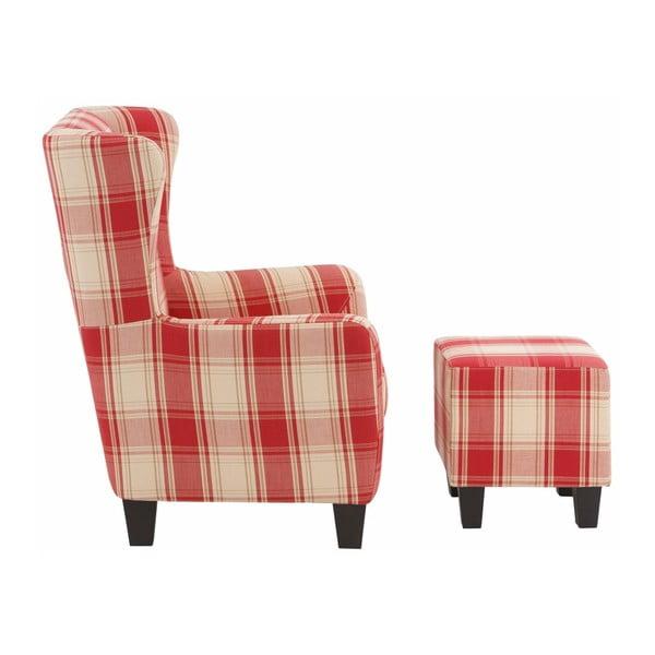 Czerwony fotel w kratkę z podnóżkiem Støraa Aladdin