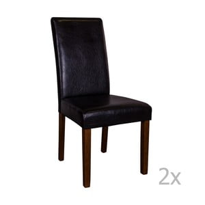Zestaw 2 czarnych krzeseł z ciemnymi nogami House Nordic Mora