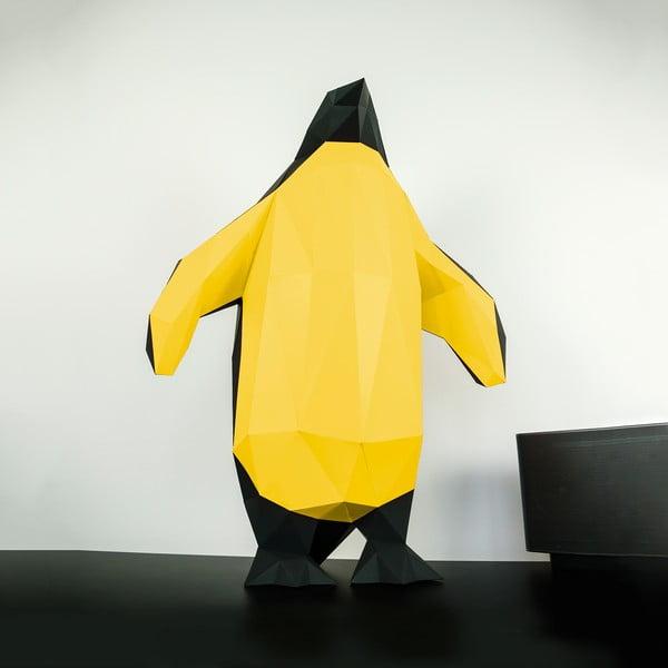 Papierowa rzeźba Pingwin, czarno-złota