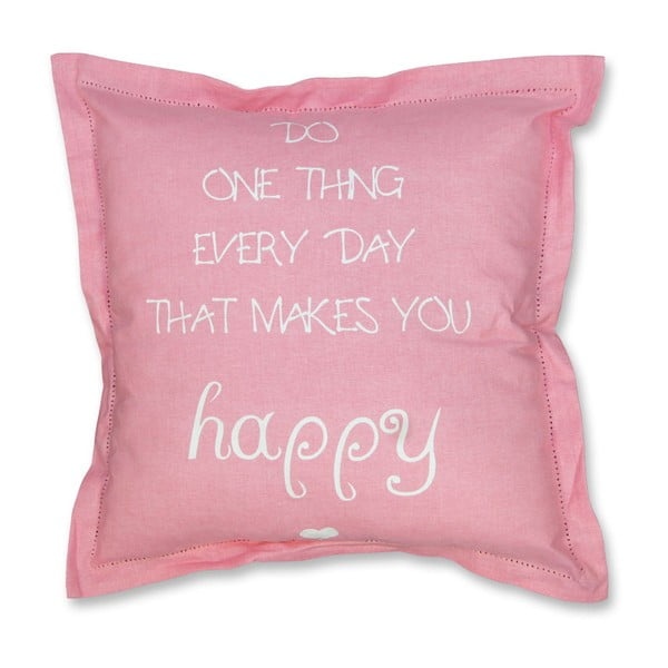 Poduszka Happy 45x45 cm, różowa