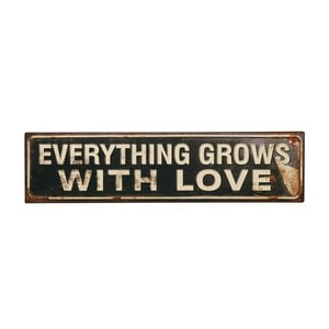 Tablica Everything grows with love, 50x13 cm