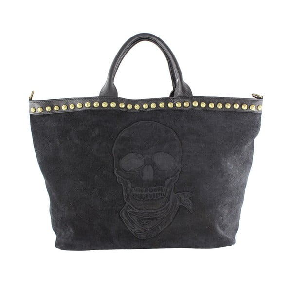 Skórzana torebka Skull, czarna