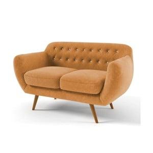 Żółta   sofa dwuosobowa z jasnobeżowymi guzikami Wintech Indigo