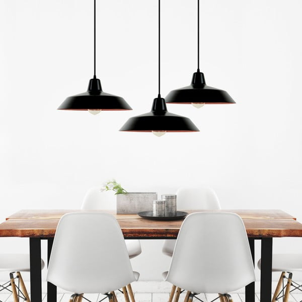 Czarno-miedziana potrójna lampa wisząca Bulb Attack Cinco