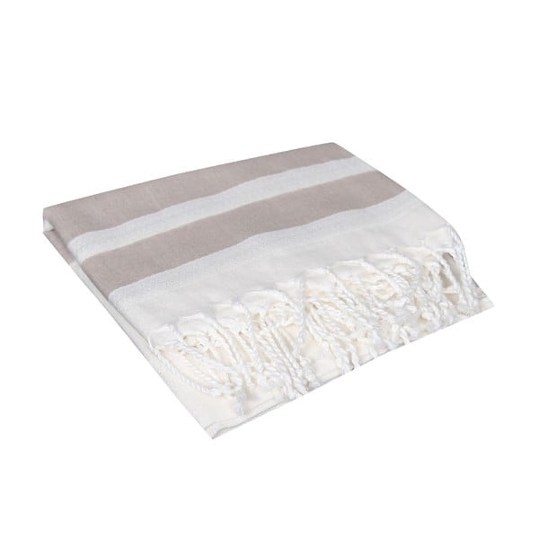 Beżowy ręcznik hammam Mimoza Beige, 90x190cm