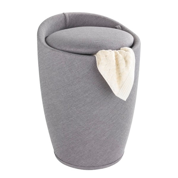 Jasnoszary kosz na pranie i taboret w jednym Wenko Linen Look, 20 l