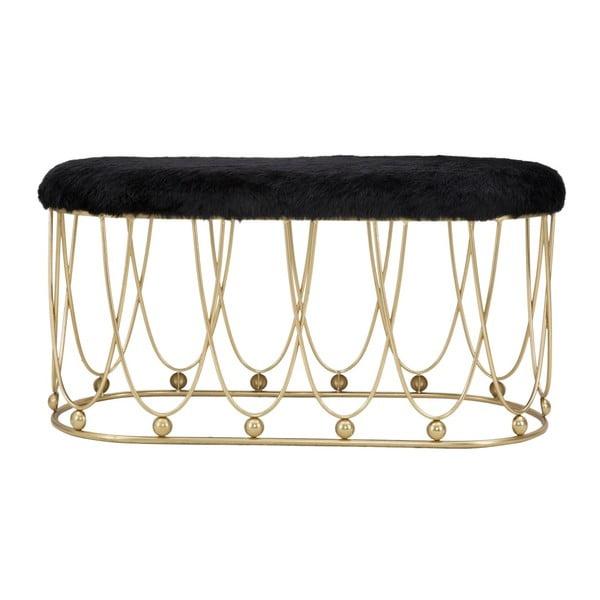 Czarna tapicerowana ławka z żelazną konstrukcją w złotym kolorze Mauro Ferretti Amelia