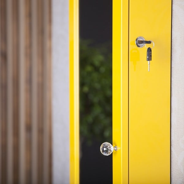 Zamykane lustro wiszące ze schowkiem Serena, żółte