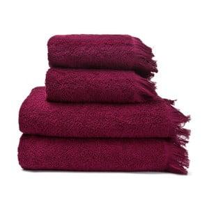 Zestaw 2 czerwonych ręczników bawełnianych i 2 ręczników kąpielowych Cassa Di Bassi Riad