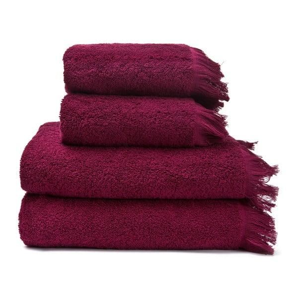 Zestaw 2 bordowych ręczników bawełnianych i 2 ręczników kąpielowych Cassa Di Bassi Riad