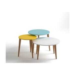Zestaw 3 stolików w kolorze żółtym, niebieskim i białym  Monte Roma