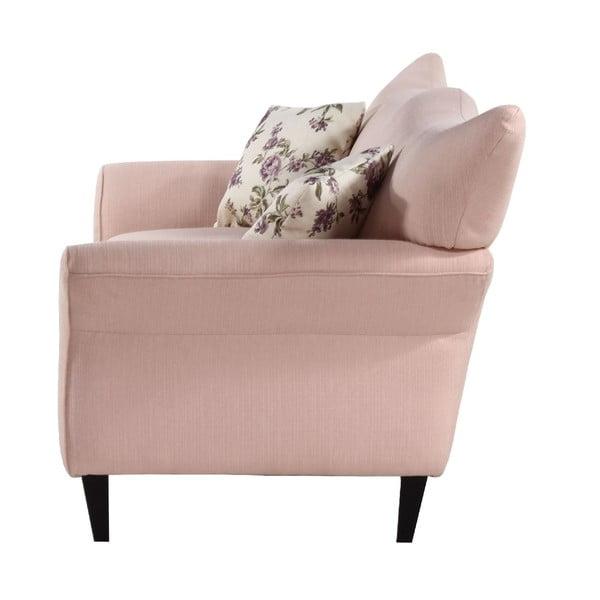 Jasnoróżowa   sofa trzyosobowa Wintech Carmen Portland