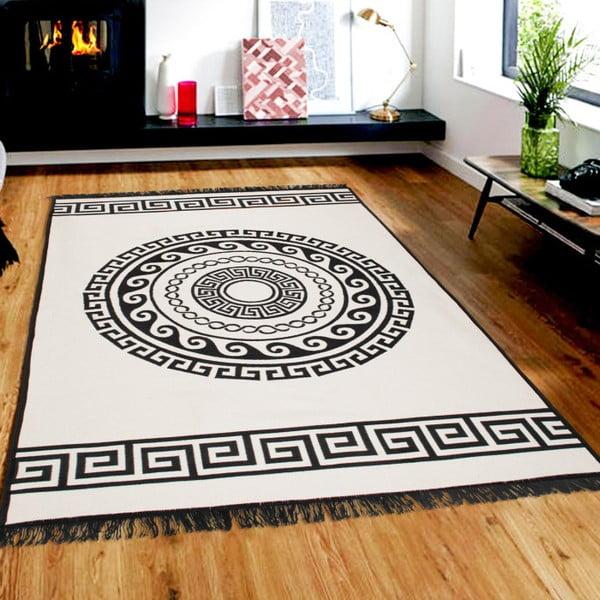 Beżowo-czarny dywan dwustronny Mandala, 120x180 cm