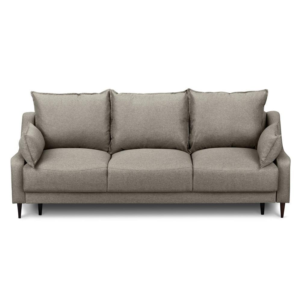 Jasnobrązowa rozkładana sofa ze schowkiem Mazzini Sofas Ancolie, 215 cm