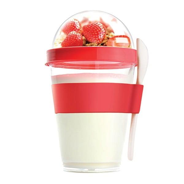 Czerwony pojemnik śniadaniowy Asobu Yo2GO, 360 ml