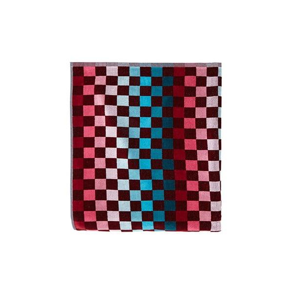 Czerwono-niebieski ręcznik kąpielowy Casa Di Bassi Squares, 100x180 cm