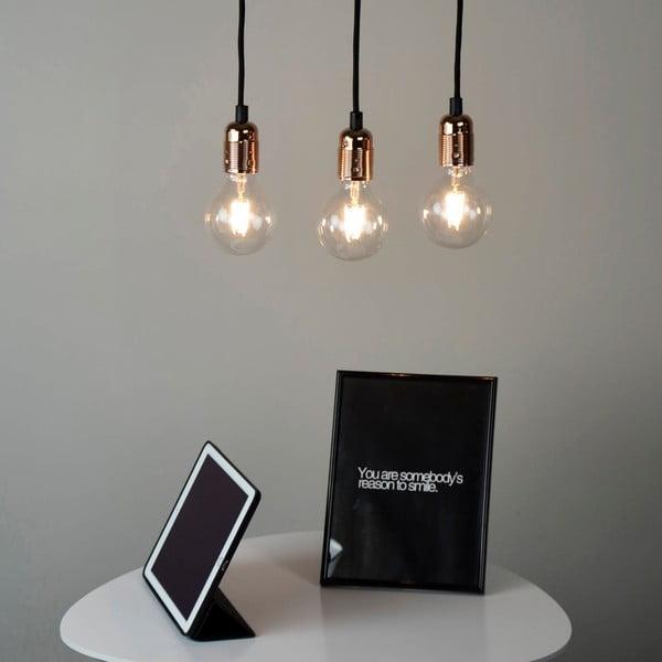 Lampa wisząca z 3 czarnymi kablami i oprawą żarówki w miedzianym kolorze Bulb Attack Uno Basic