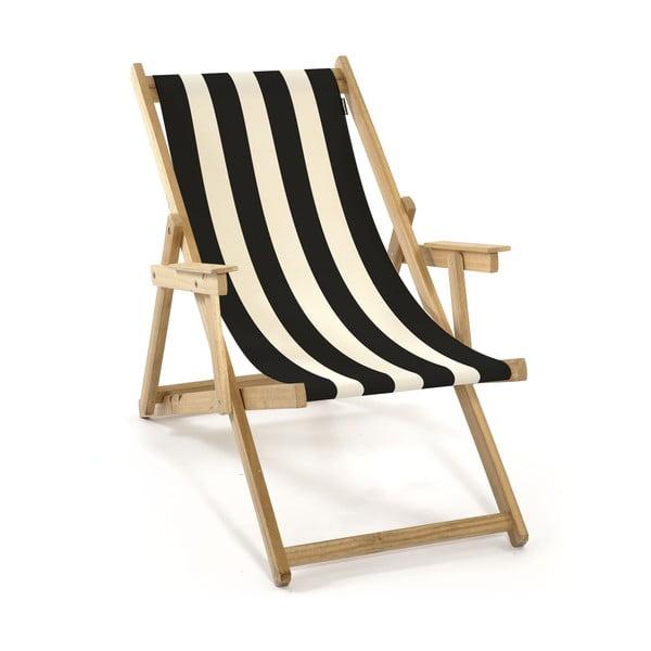 Leżak składany Beach, czarne paski