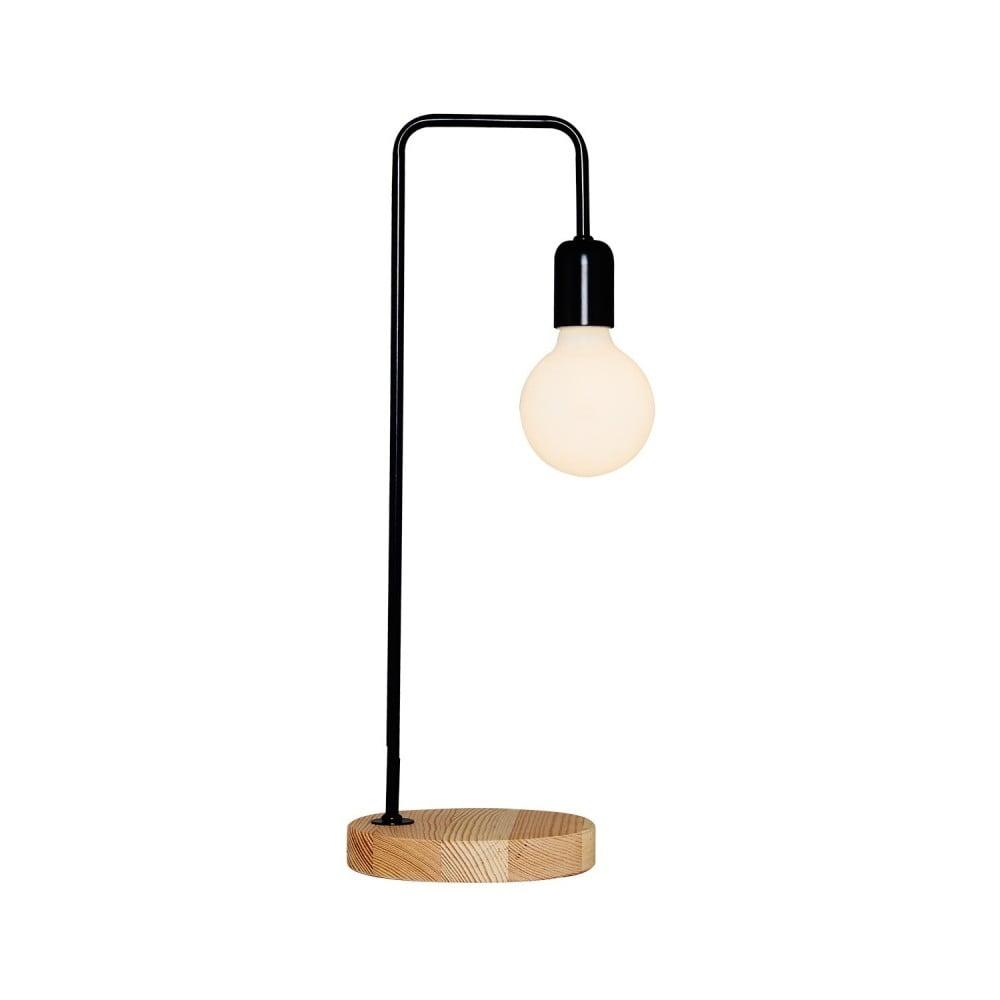 Czarna lampa stołowa z drewnianą podstawą Homemania Valetta