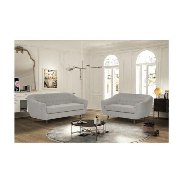 Kremowy zestaw 2 sof dwuosobowej i trzyosobowej Jalouse Maison Vicky