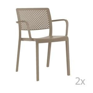 Zestaw 2 beżowych krzeseł ogrodowych z podłokietnikami Resol Trama