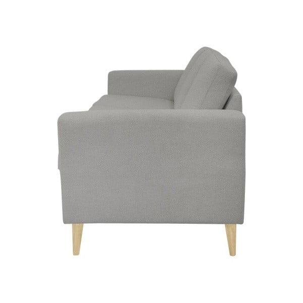 Jasnoszara sofa 3-osobowa z naturalnymi nogami Helga Interiors Alex