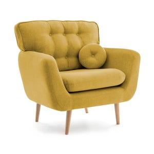 Żółty fotel z poduszką VIVONITA Malva