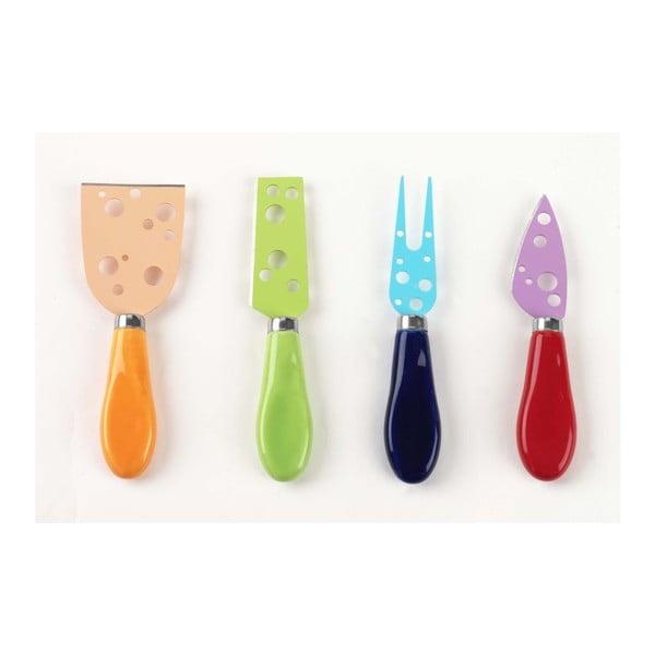 Zestaw kolorowych noży na ser, 4 sztuki