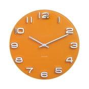 Pomarańczowy zegar Karlsson Time Vintage, ø35 cm