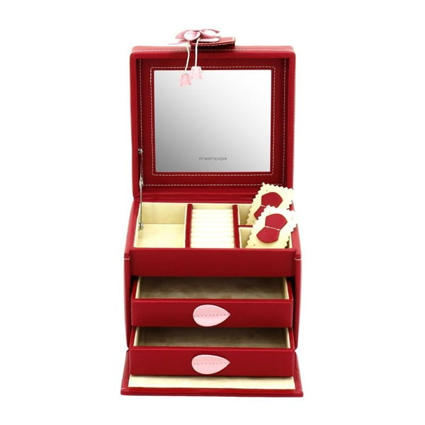 Szkatułka na biżuterię Amira Red, 14,5x13,5x12 cm