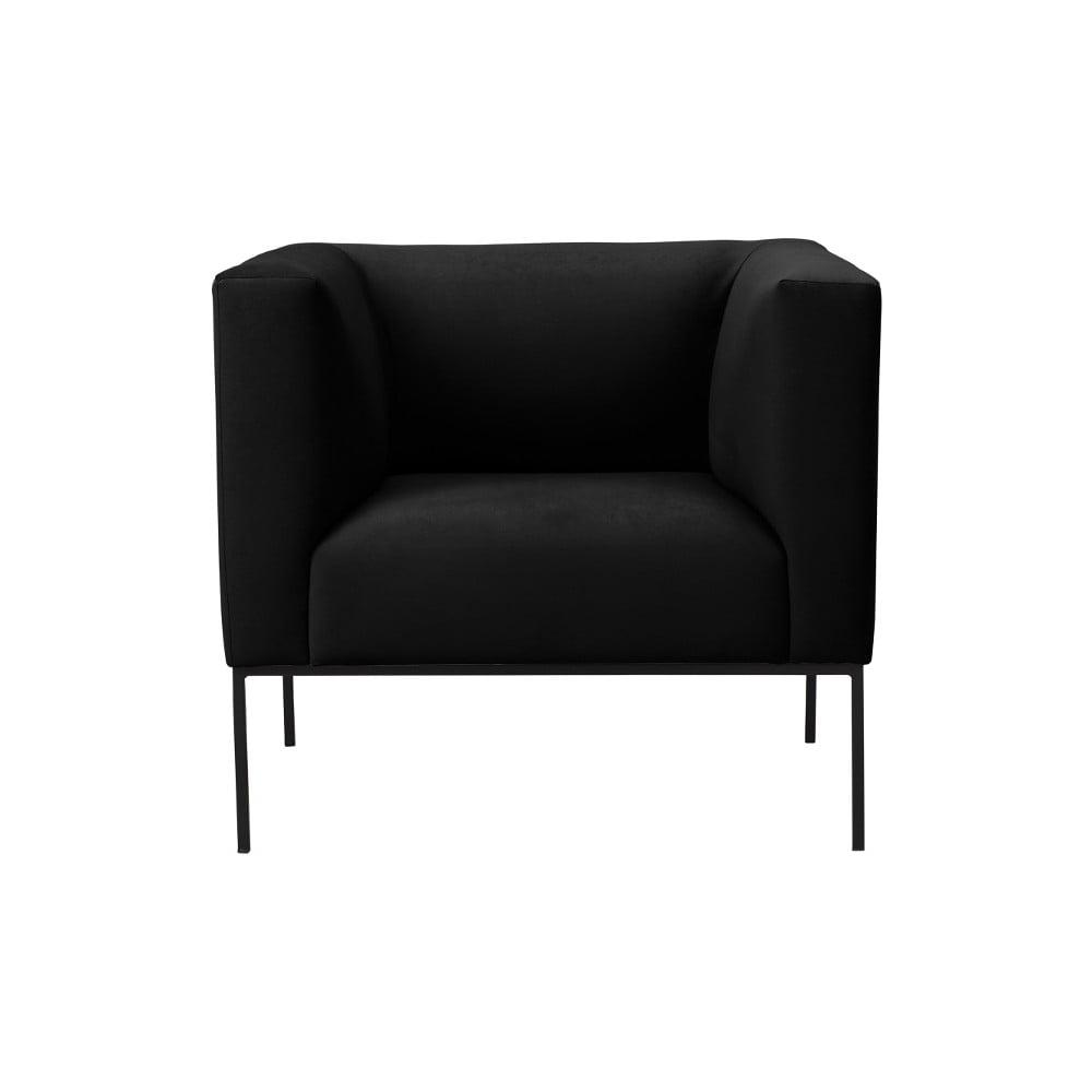 Czarny fotel z metalowymi nogami Windsor & Co Sofas Neptune