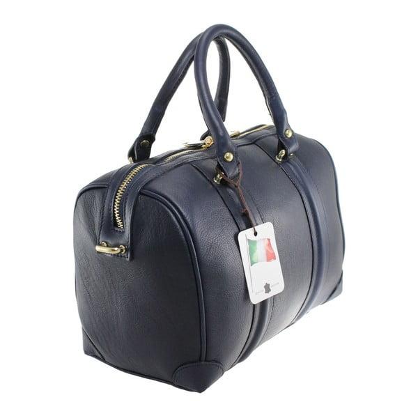 Niebieska skórzana torebka Boston