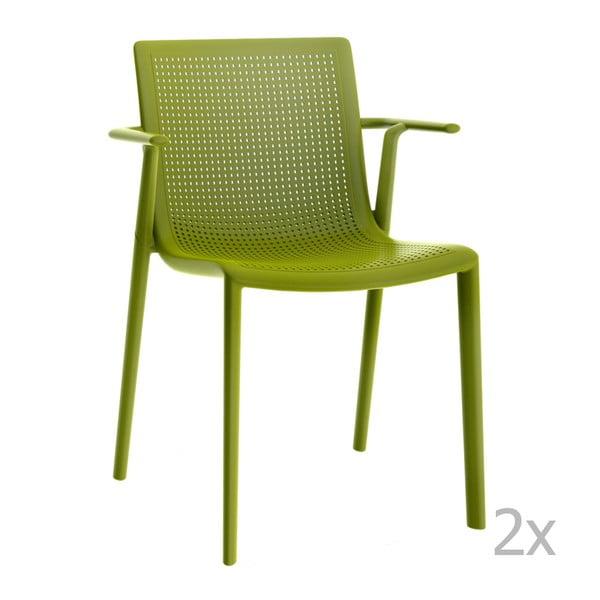 Zestaw 2 zielonych krzeseł ogrodowych z podłokietnikami Resol beekat