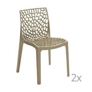 Zestaw 2 beżowych krzeseł Castagnetti Apollonia