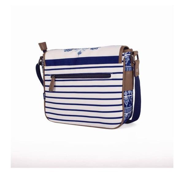 Niebiesko-biała torebka Lois, 26 x 21 cm