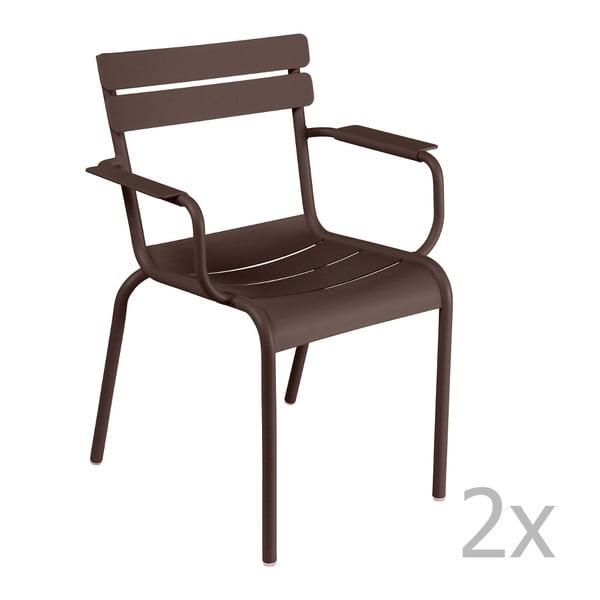 Zestaw 2 brązowych krzeseł z podłokietnikami Fermob Luxembourg
