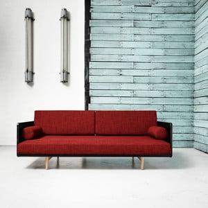 Sofa rozkładana Karup Deva Black/Raw Oak/Passion Red