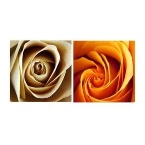 Zestaw 2 obrazów na szkle Kwiat róży, 20x20 cm