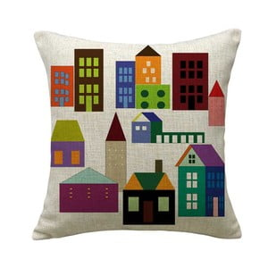 Poszewka na poduszkę Colorful Houses, 45x45 cm