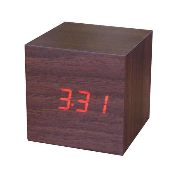 Brązowy budzik z czerwonym wyświetlaczem LED Gingko Cube Click Clock