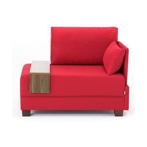 Červené křeslo s područkou na pravé straně a odkládací deskou Balcab Home Martha