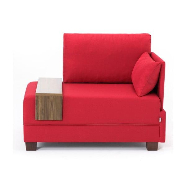 Czerwony fotel z podłokietnikiem po prawej stronie i blatem Balcab Home Martha