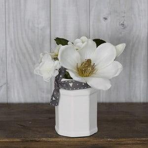 Ceramiczny wazon ze sztucznymi kwiatami Hydragena, 16 cm