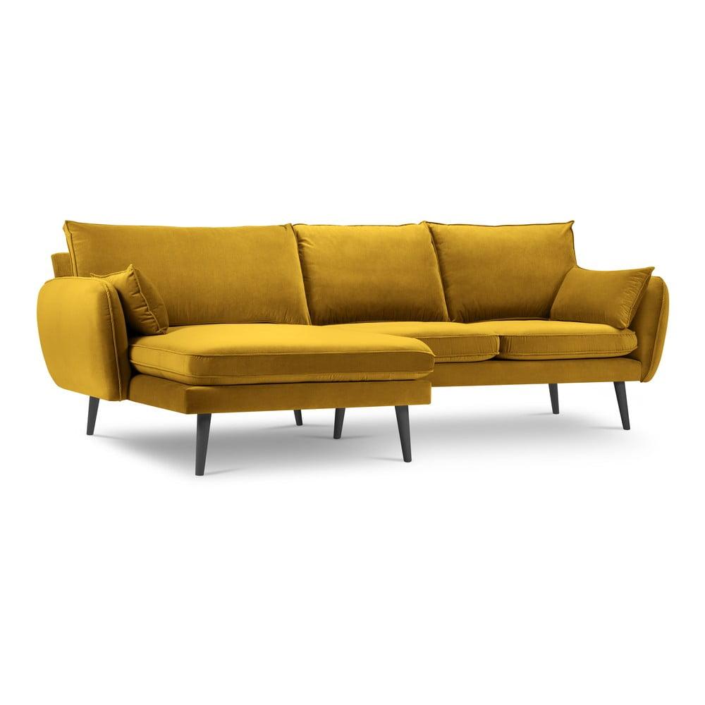 Żółta aksamitna narożna sofa Kooko Home Lento, lewostronna