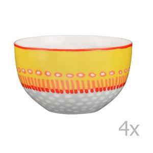 Komplet 4 misek porcelanowych Oilily 12 cm, żółty