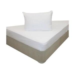Prześcieradło elastyczne i dwie poszewki na poduszkę White, 160x200 cm